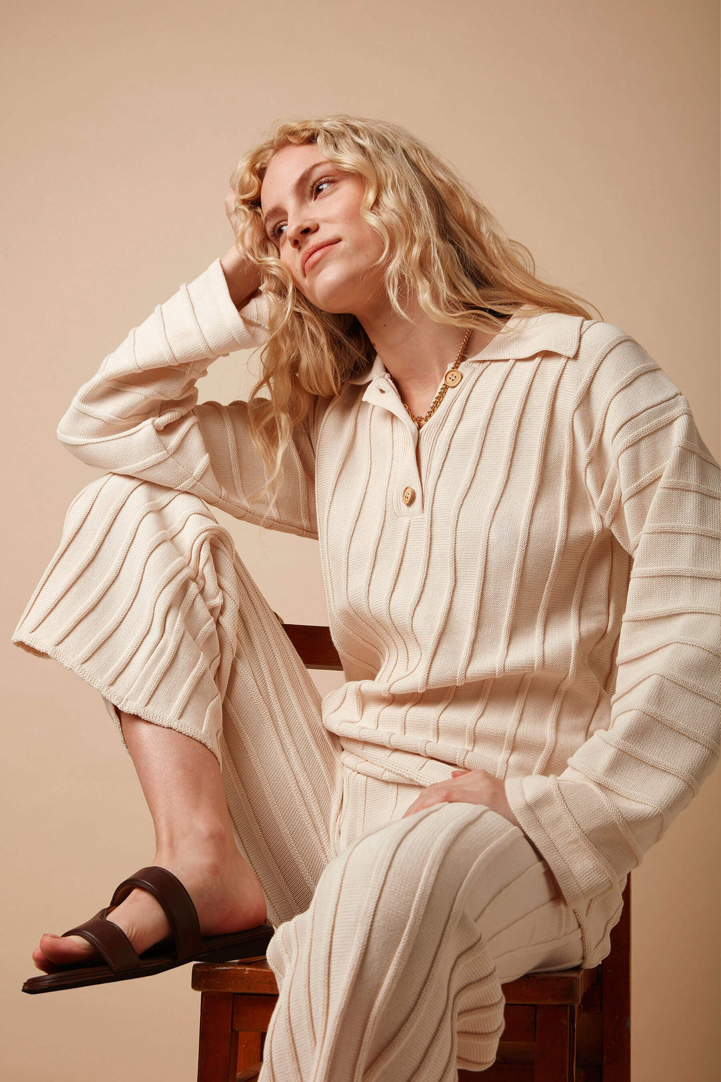 Organic Cotton Oversized Rib Knitted Polo Jumper in Cream