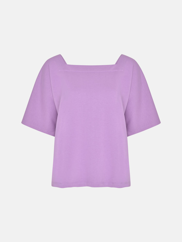 Zero Waste Organic Cotton Long Short Sleeve Jersey Boxy Top in Lilac
