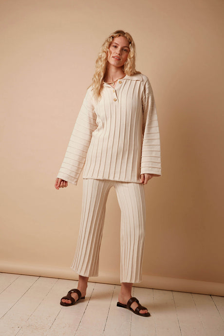 Organic Cotton Rib Knitted Wide Leg Trousers in Cream