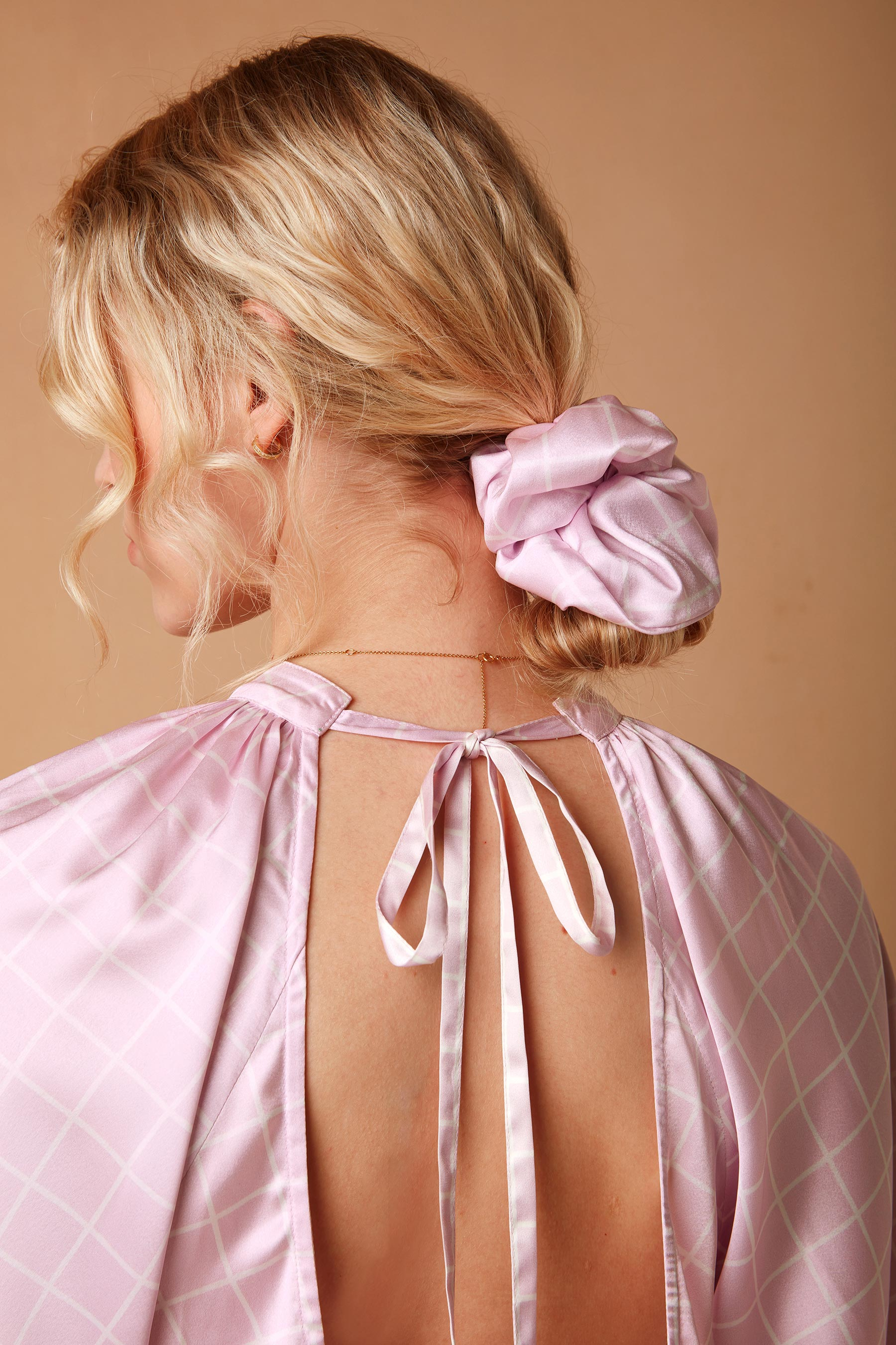 Scrunchie in Pink Grid Print-One Size
