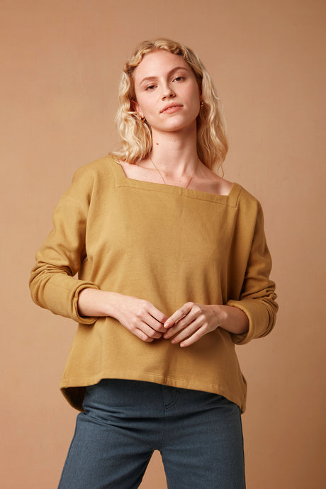 Zero Waste Organic Cotton Long Sleeve Jersey Top with Split Back in Camel