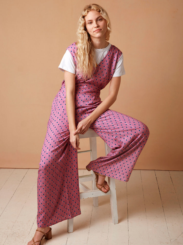 LENZING™ ECOVERO™ Viscose V Neck V Back Jumpsuit in Pink Spot