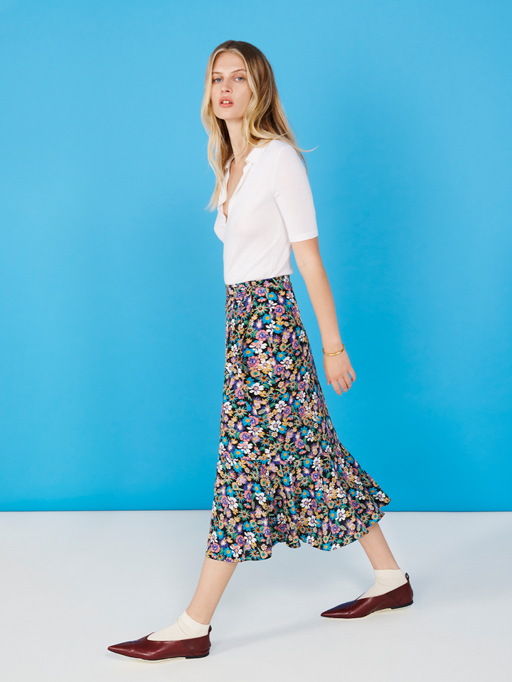 Multicoloured Floral Wrap Midi Skirt