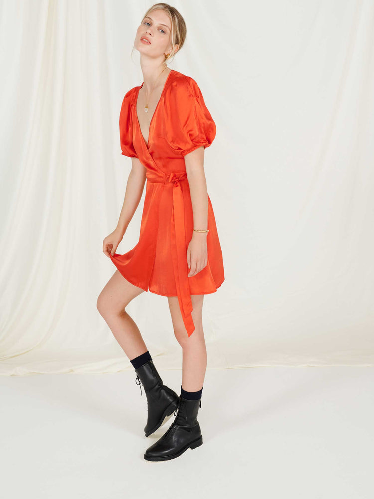Burnt Orange Puff Sleeve Wrap Mini Dress