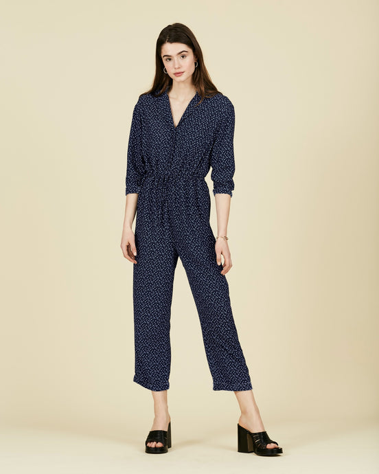 FSC Viscose Navy Ditsy Floral Gathered Jumpsuit