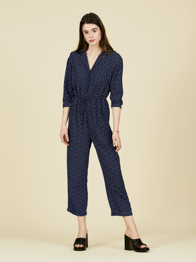 Navy Ditsy Floral Gathered Jumpsuit