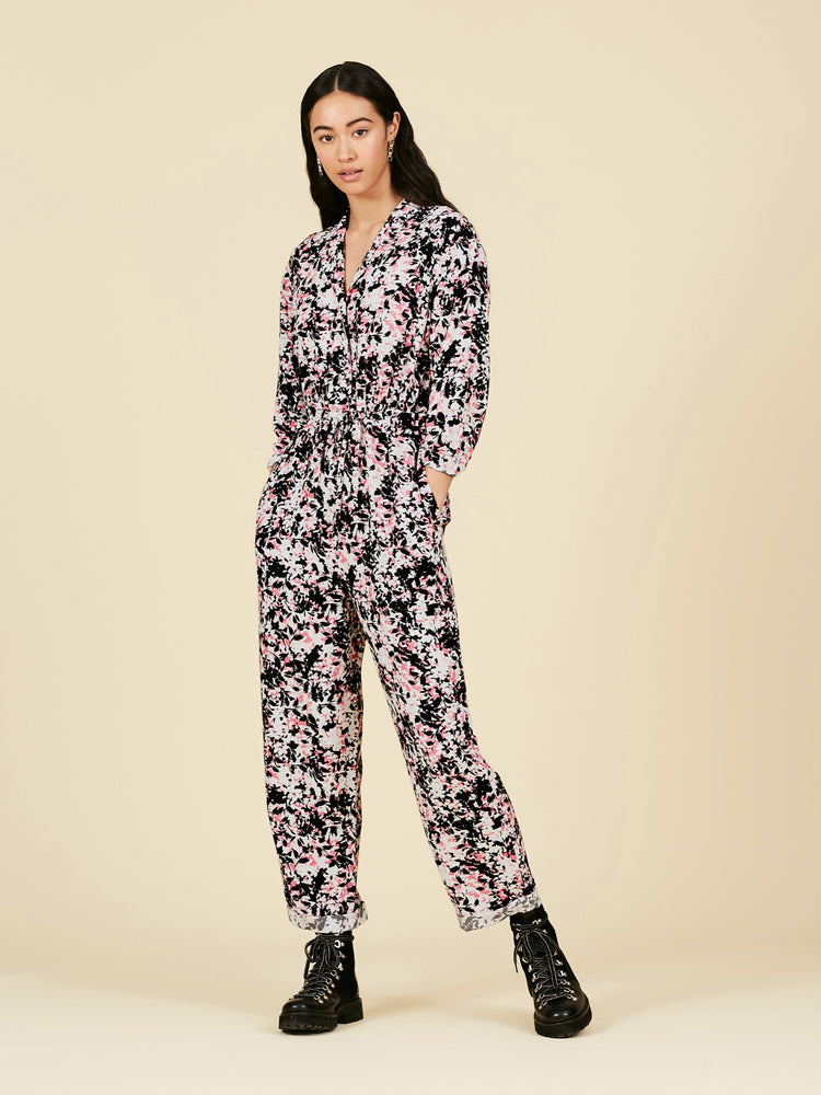 Abstract Floral Print Gathered Jumpsuit