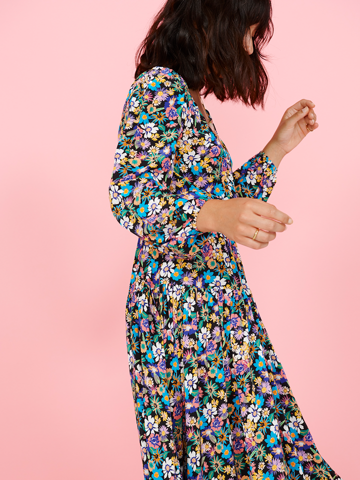 Multicoloured Floral Portobello Wrap Midi Dress