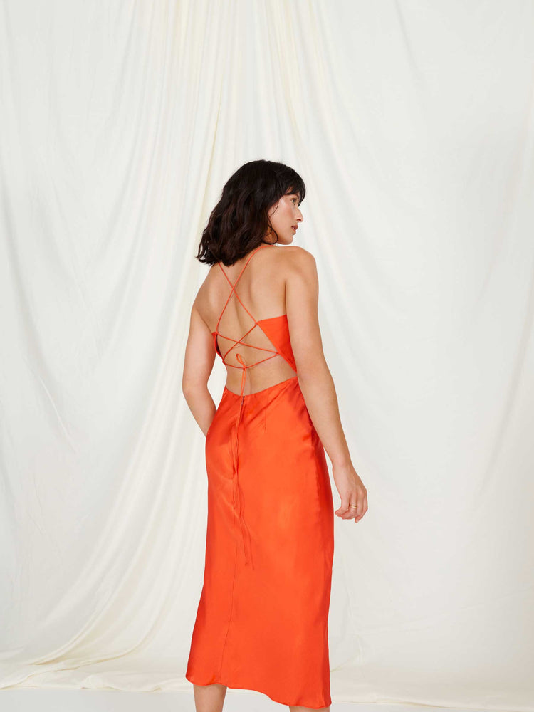 Riviera Burnt Orange Cami Slip Midi Dress