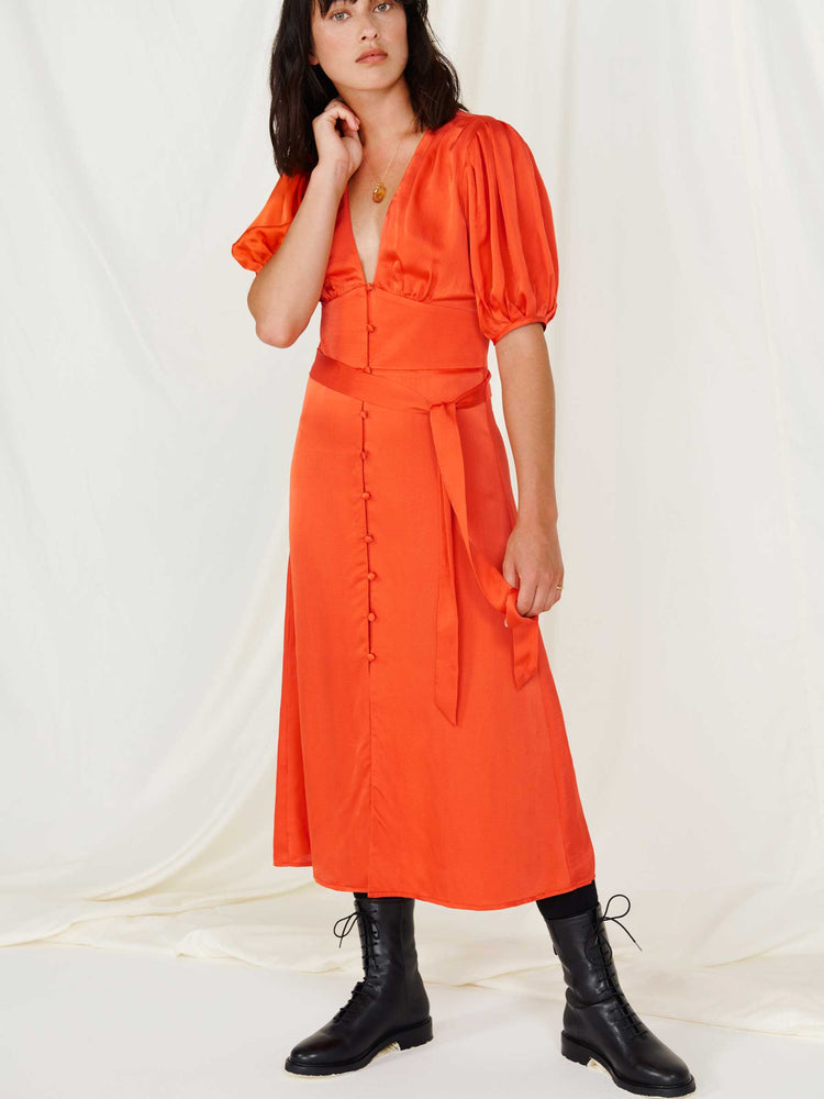 Burnt Orange Button Front Tea Dress
