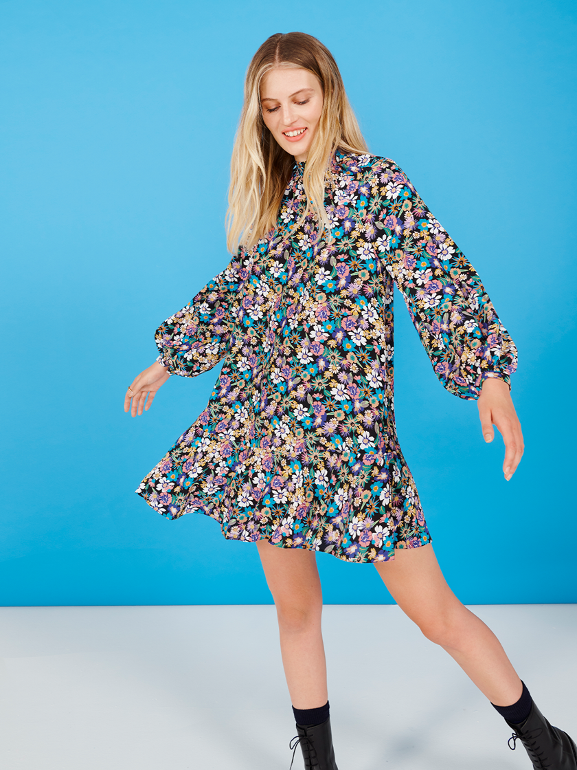 Multicoloured Floral Blouson Sleeve Trapeze Dress