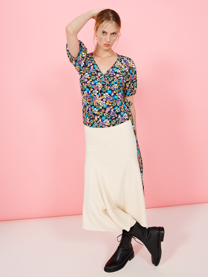 FSC Viscose Multicoloured Floral Puff Sleeve Wrap Top