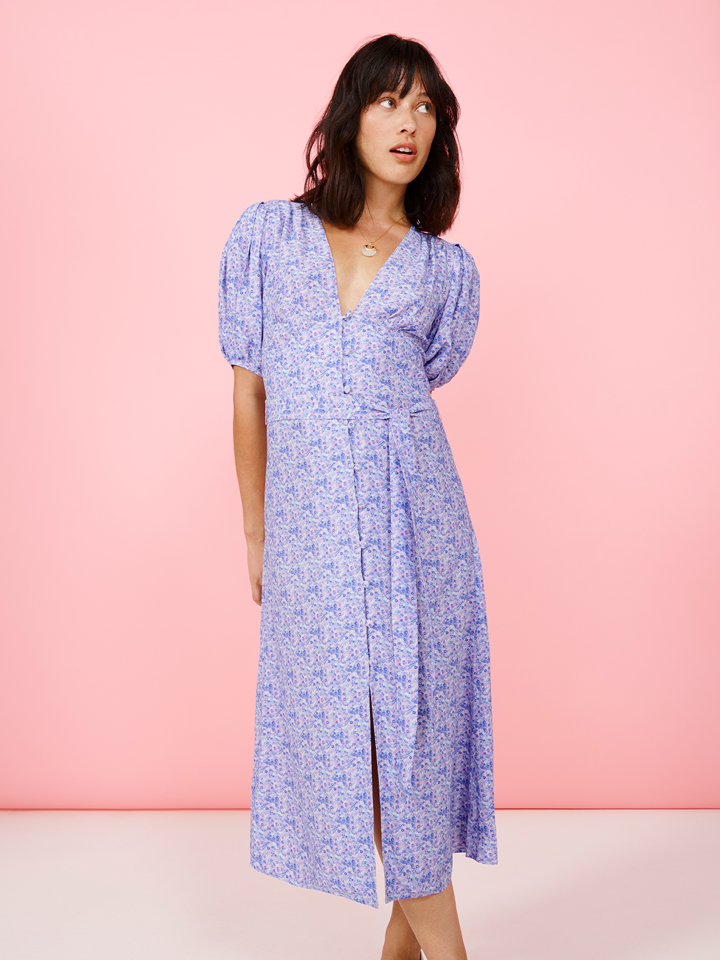 Micro Purple Ditsy Button Front Tea Dress