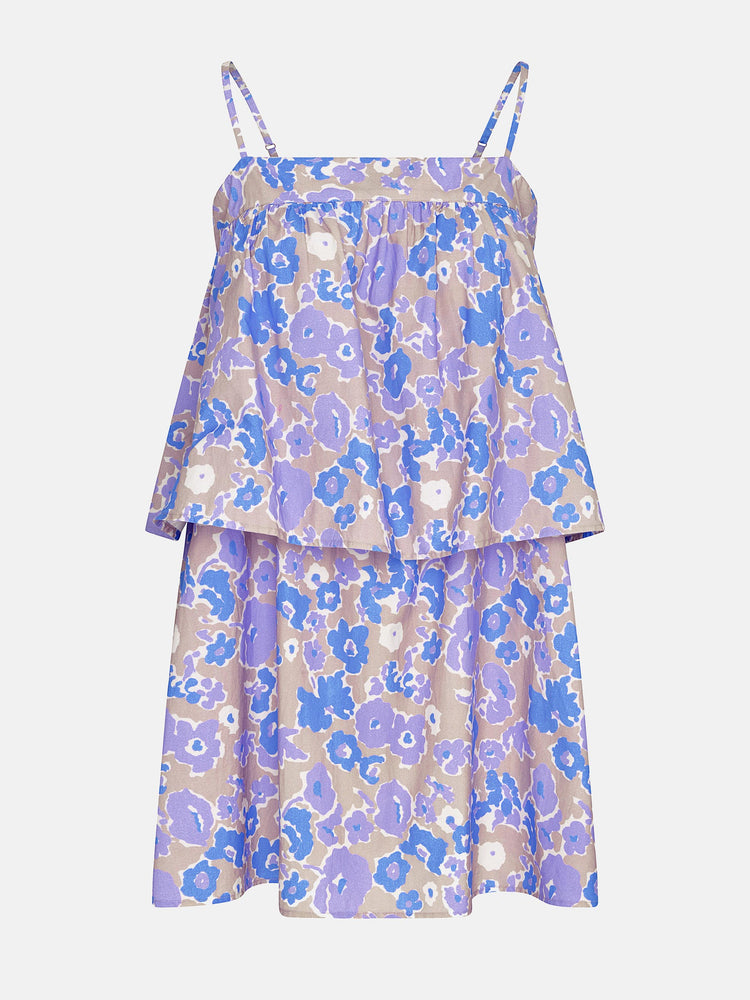 Tiered Mini Smock Dress in Purple Smudged Floral