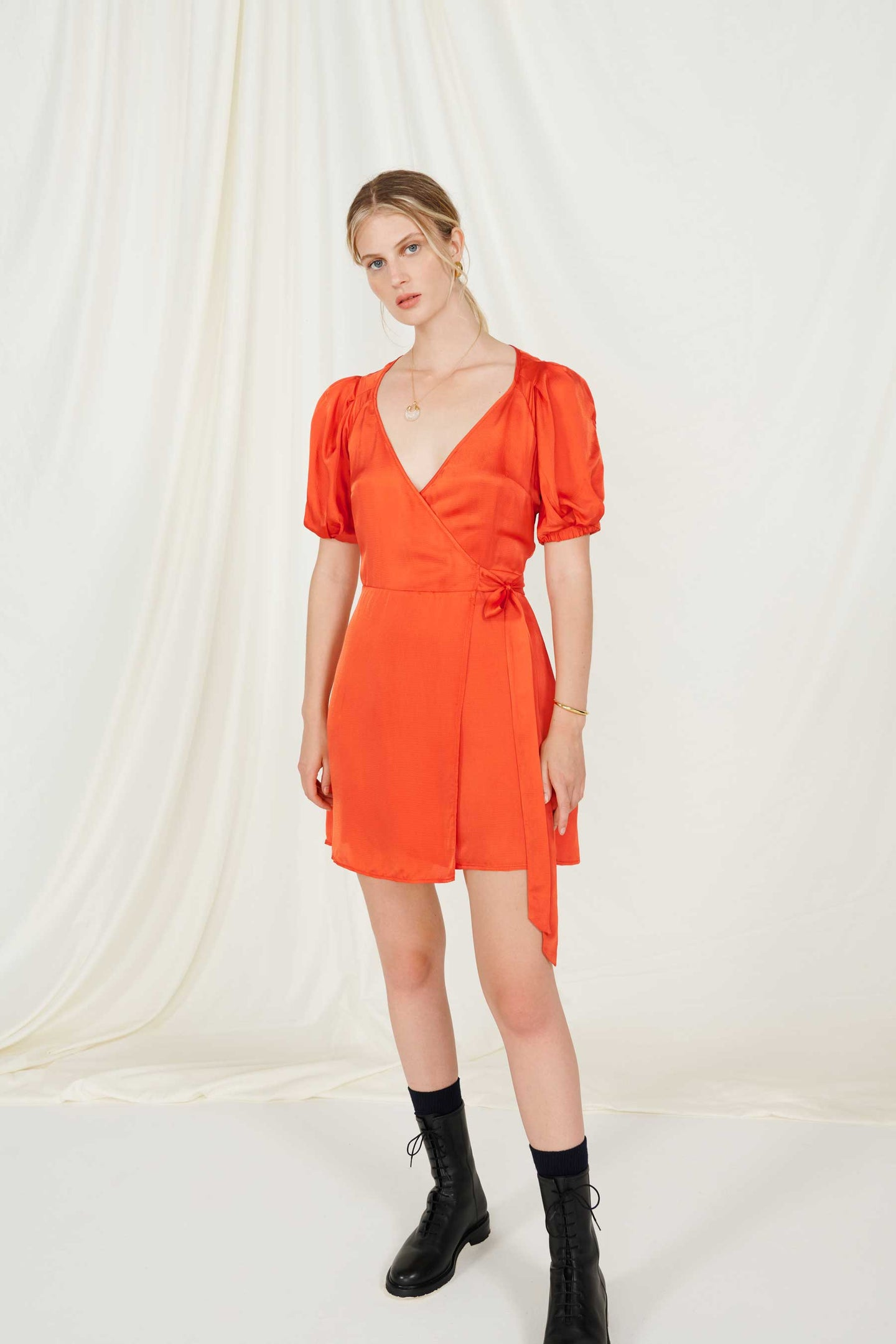 FSC Viscose Burnt Orange Puff Sleeve Wrap Mini Dress