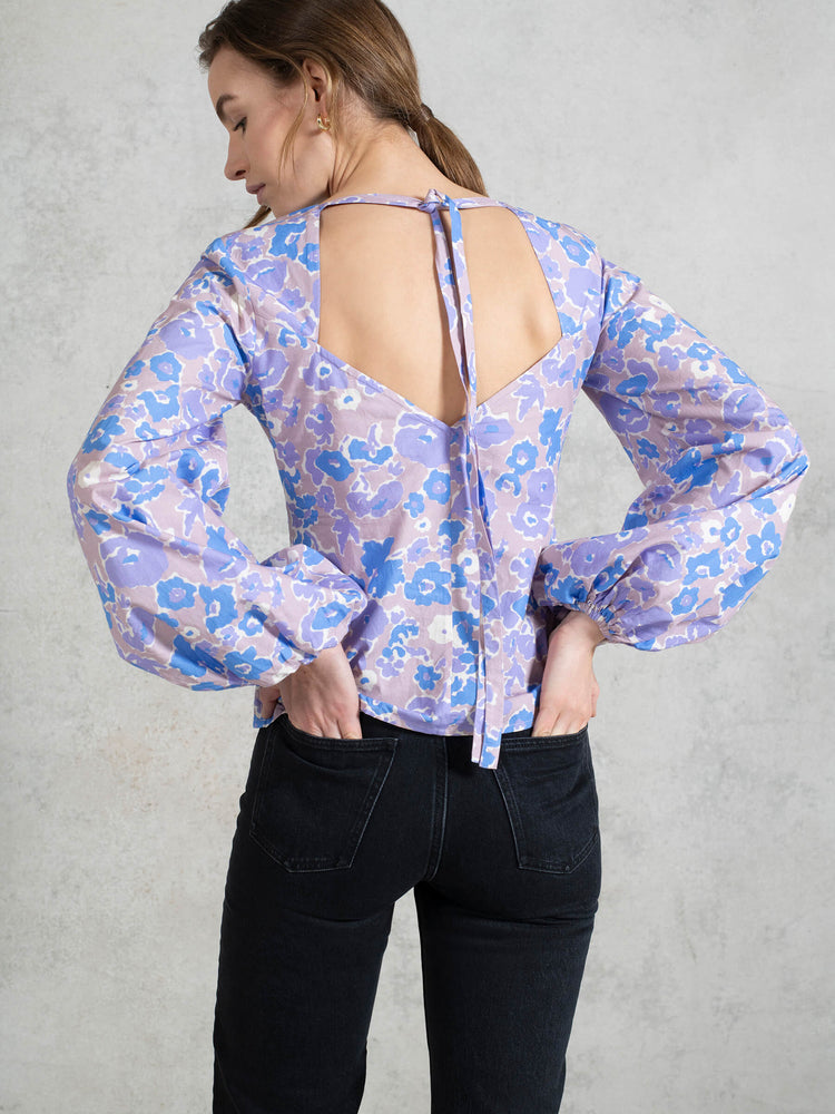 BCI Cotton Blouson Sleeve Top in Purple Smudged Floral