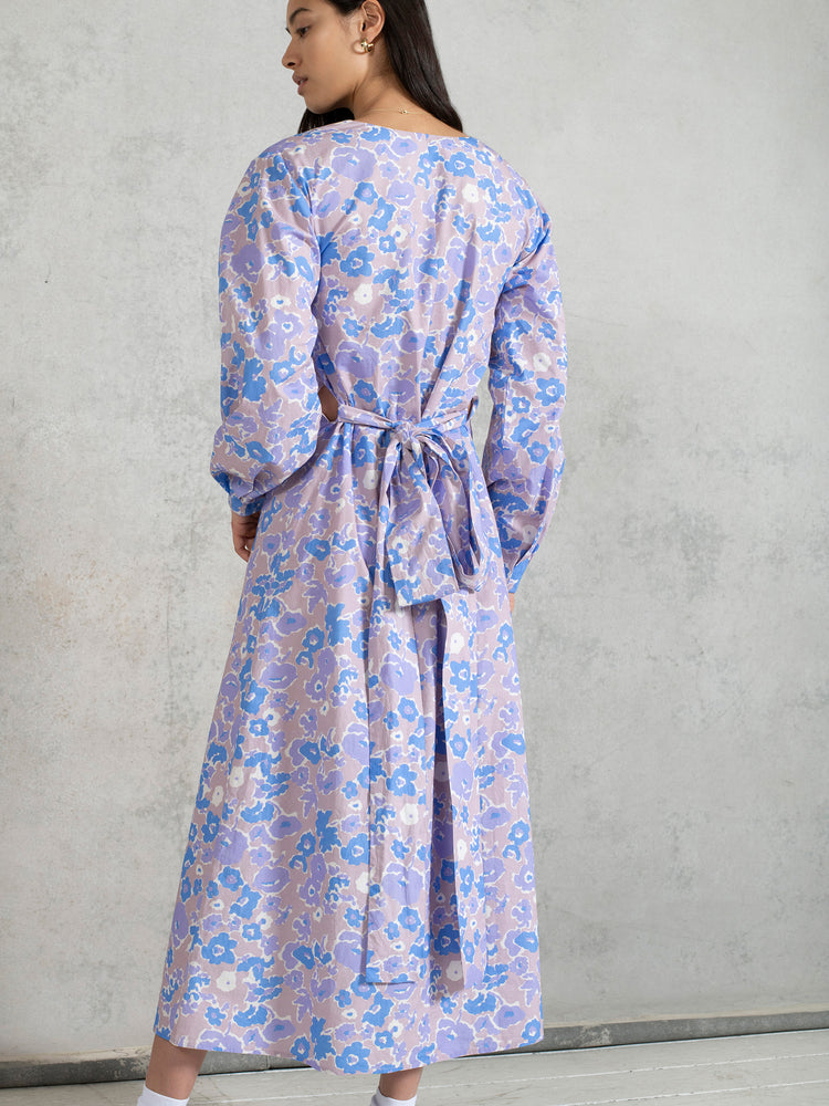 BCI Cotton Detachable Belt Midaxi Dress in Purple Smudged Floral