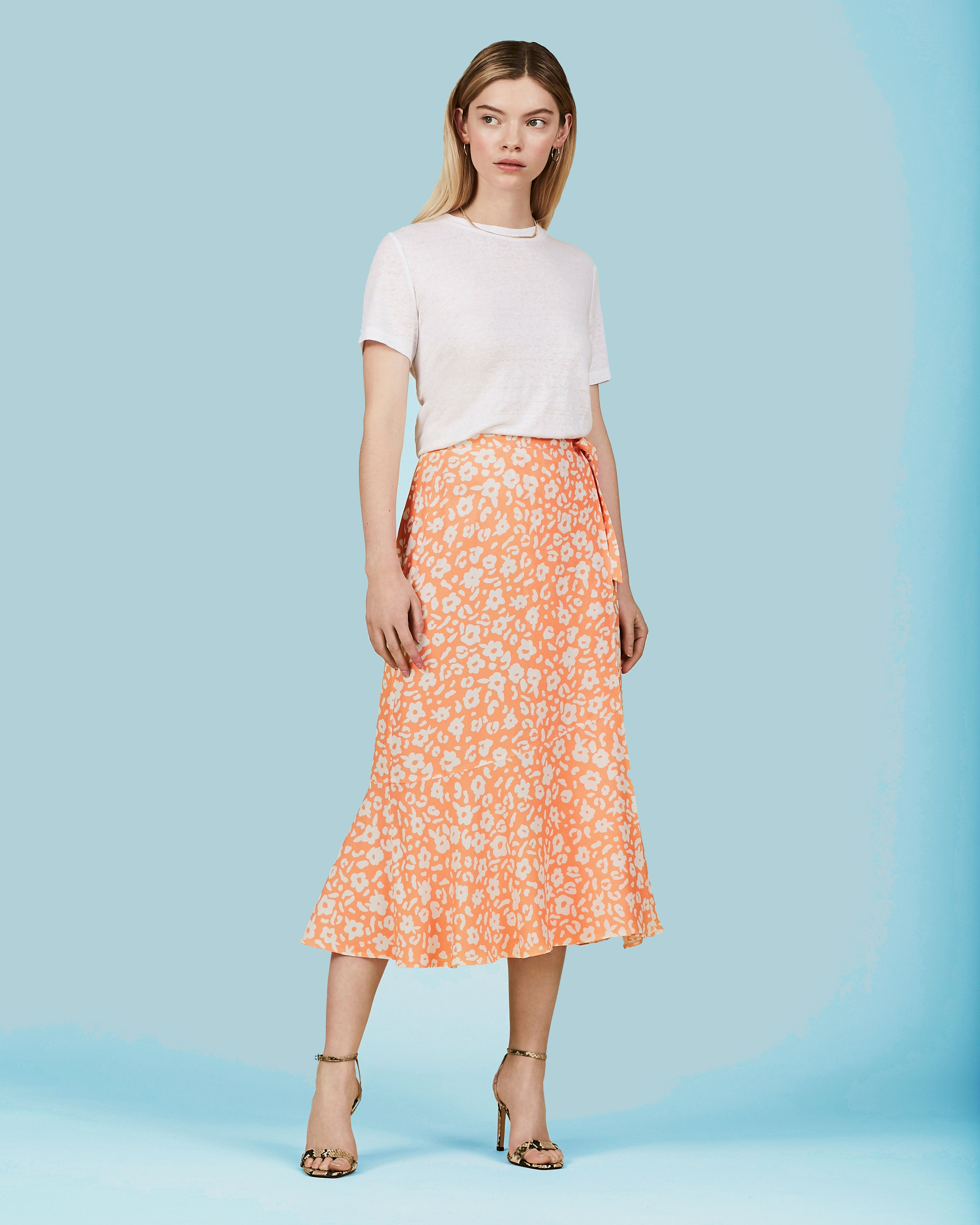 OMNES Apricot Floral Print Wrap Skirt