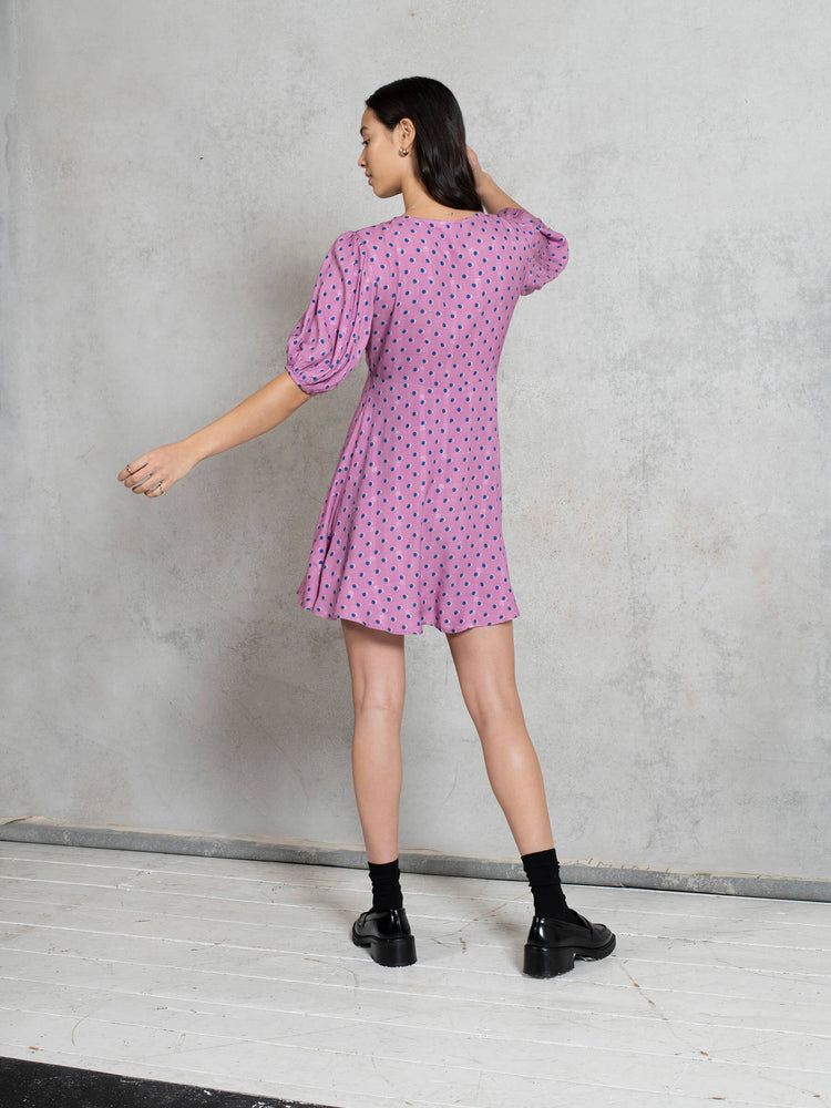 LENZING™ ECOVERO™ Viscose Mini Smock Dress with V Neck in Pink Spot