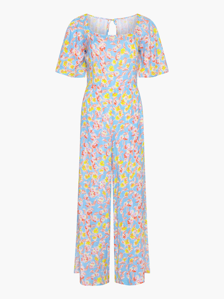 Elisa Angel Sleeve Tea Jumpsuit in Blue Daisy