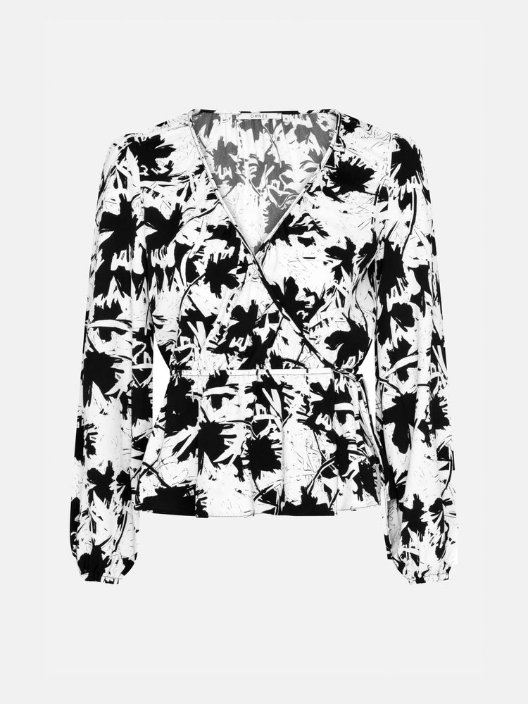 Gathered Wrap Top in Mono Leaf Print