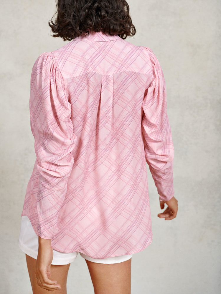 Pink Check Ruched Blouson Sleeve Shirt