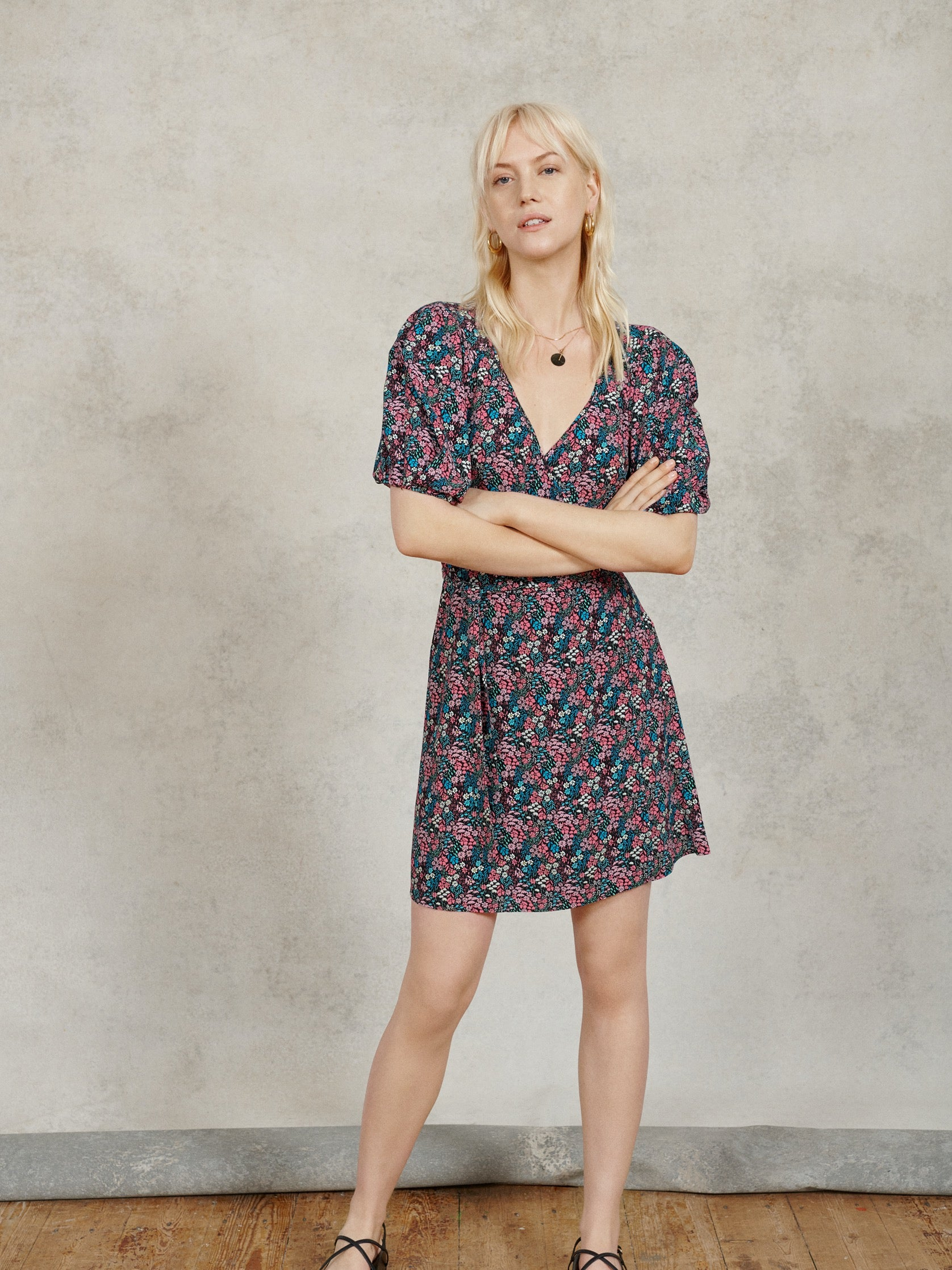 FSC Viscose Black Ditsy Floral Print Wrap Dress