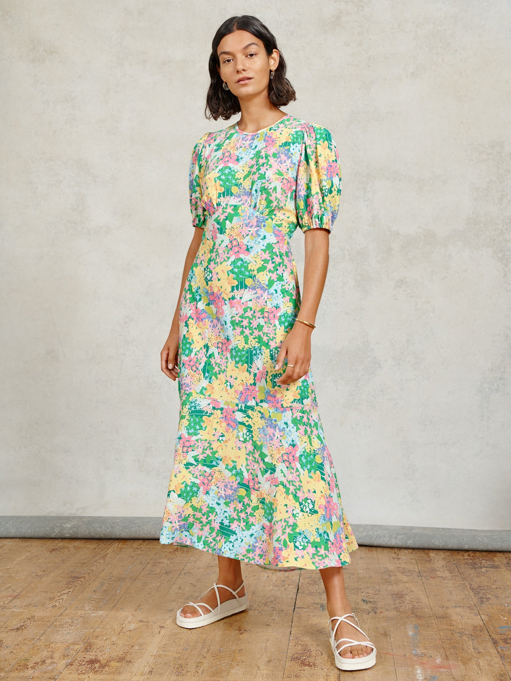FSC Viscose Meadow Floral Puff Sleeve Midi Dress
