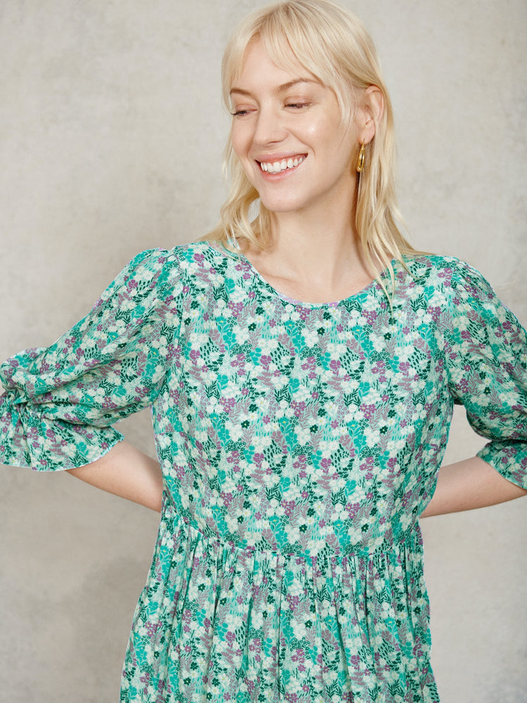 Mint Ditsy Floral Puff Sleeve Smock Mini Dress