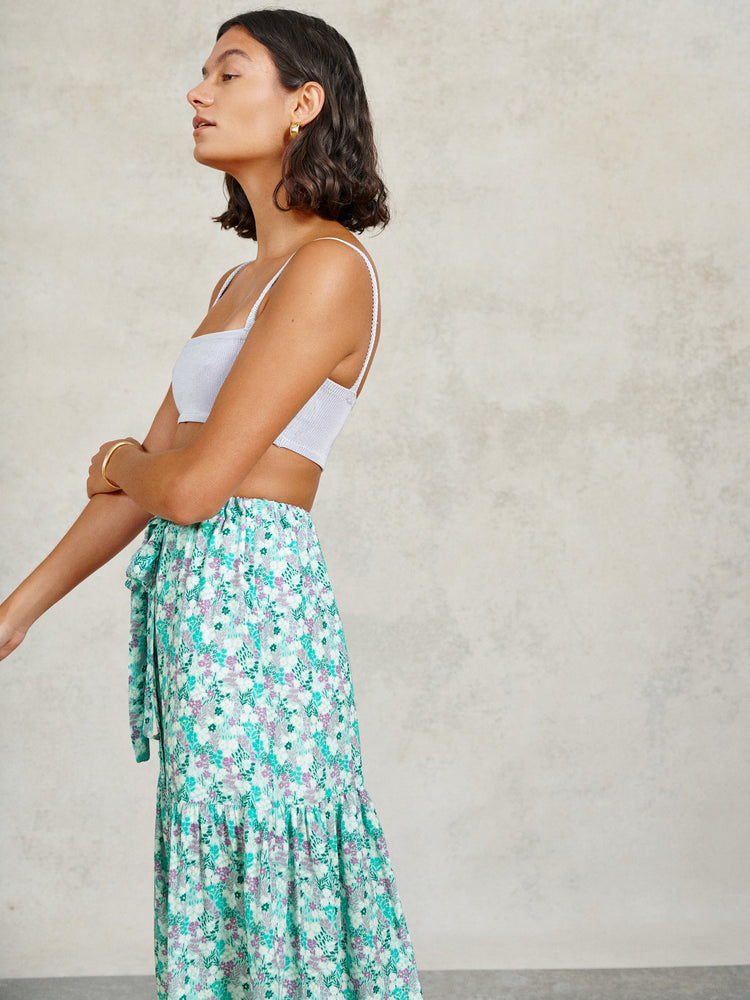 Mint Ditsy Floral Maxi Skirt