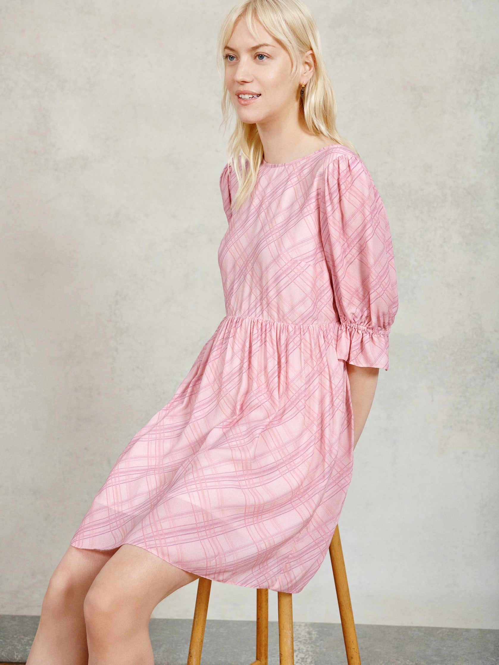 FSC Viscose Pink Check Puff Sleeve Smock Mini Dress