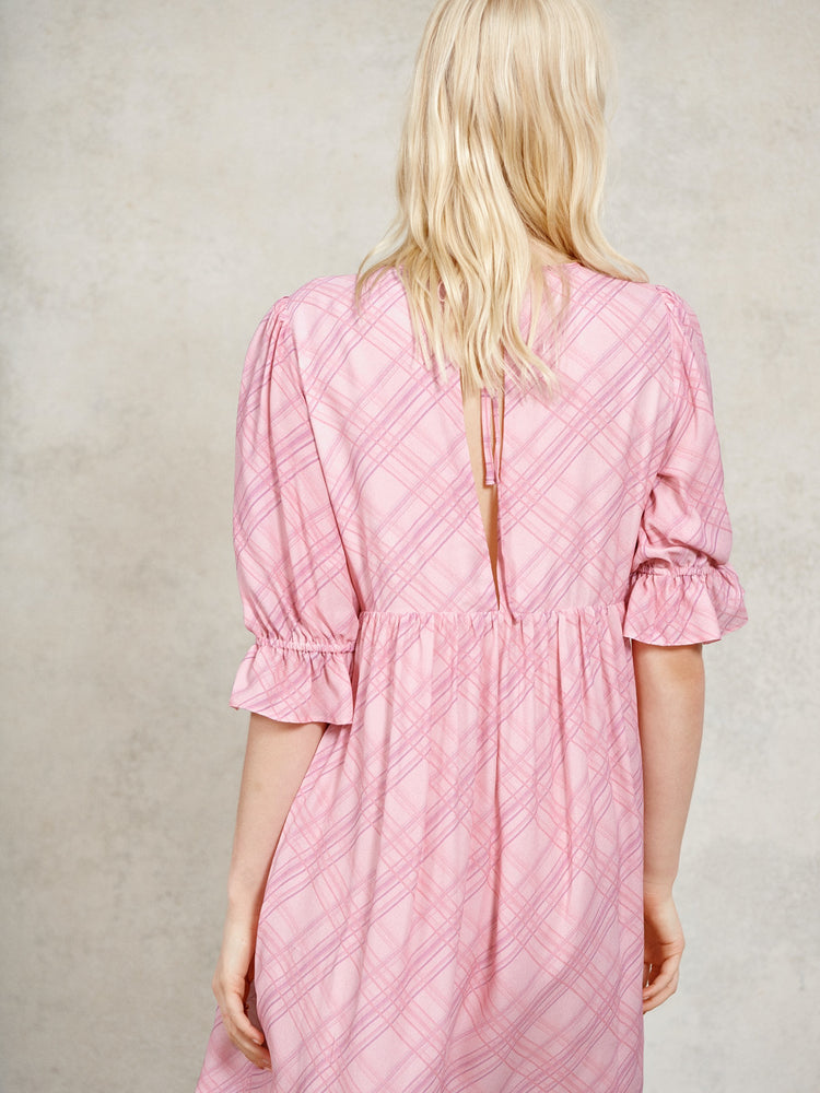 Pink Check Puff Sleeve Smock Mini Dress