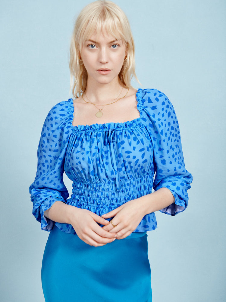 Blue Animal Print Shirred Waist Top