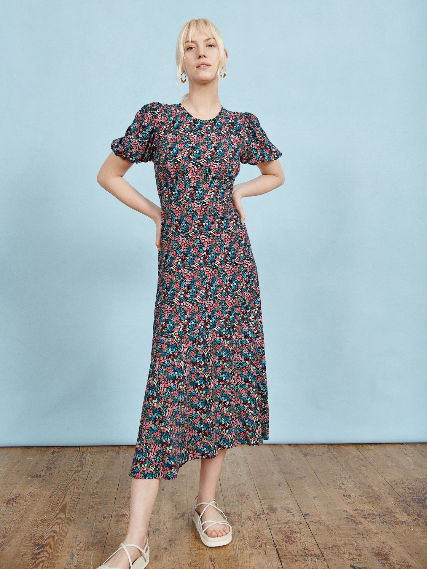 FSC Viscose Black Ditsy Puff Sleeve Midi Dress
