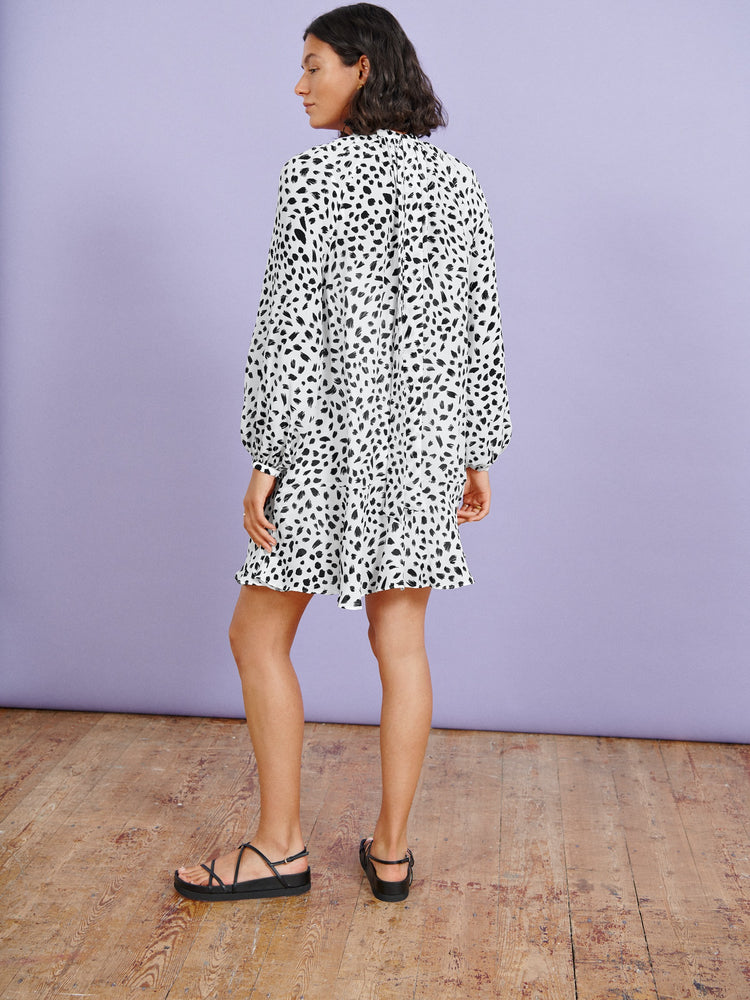 White Animal Print Trapeze Mini Dress
