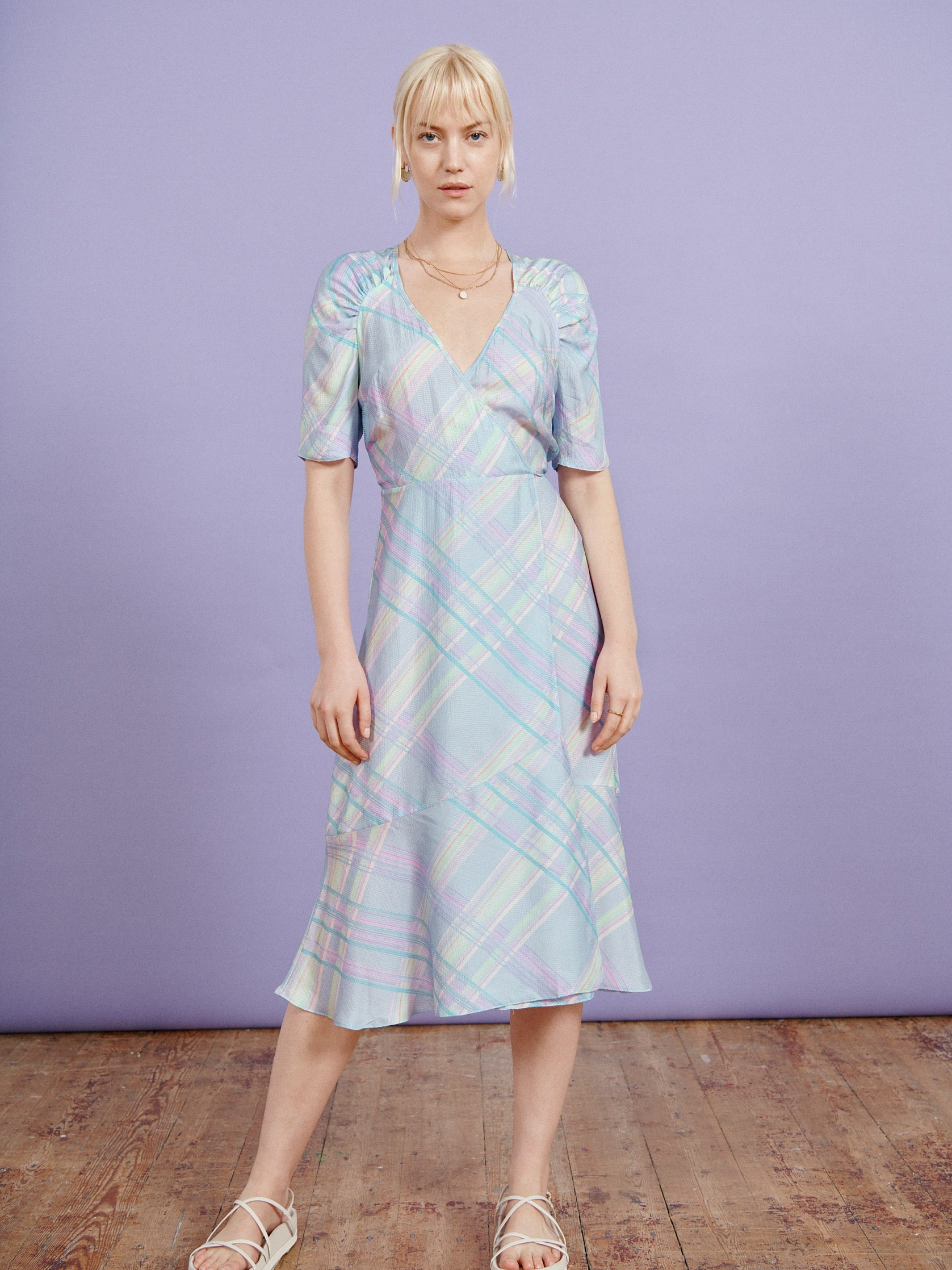 FSC Viscose Blue Check Ruched Sleeve Midi Dress