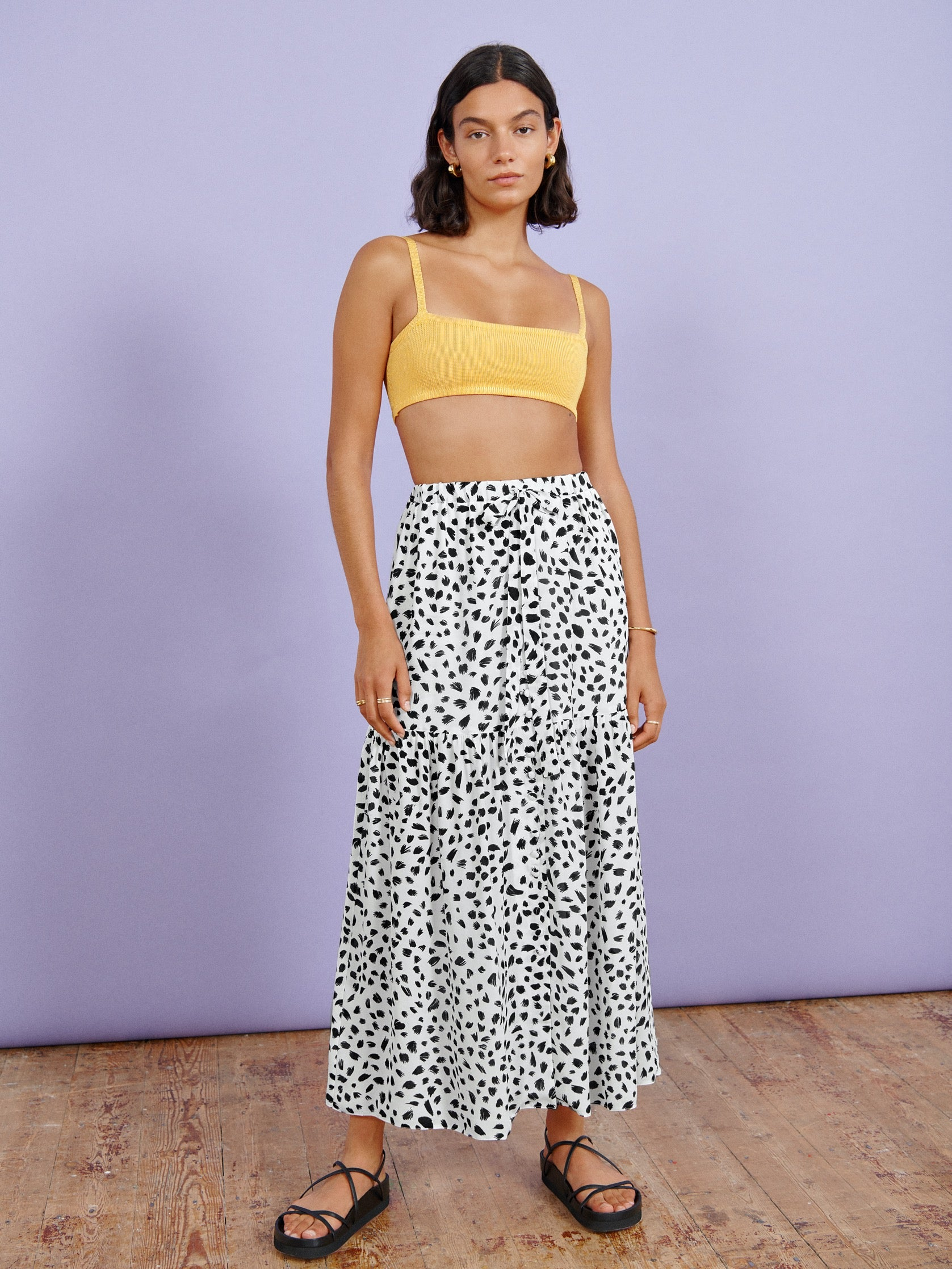 White Animal Print Maxi Skirt