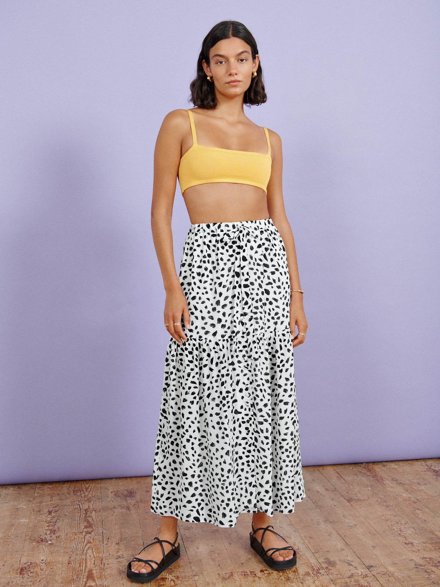 FSC Viscose White Animal Print Maxi Skirt