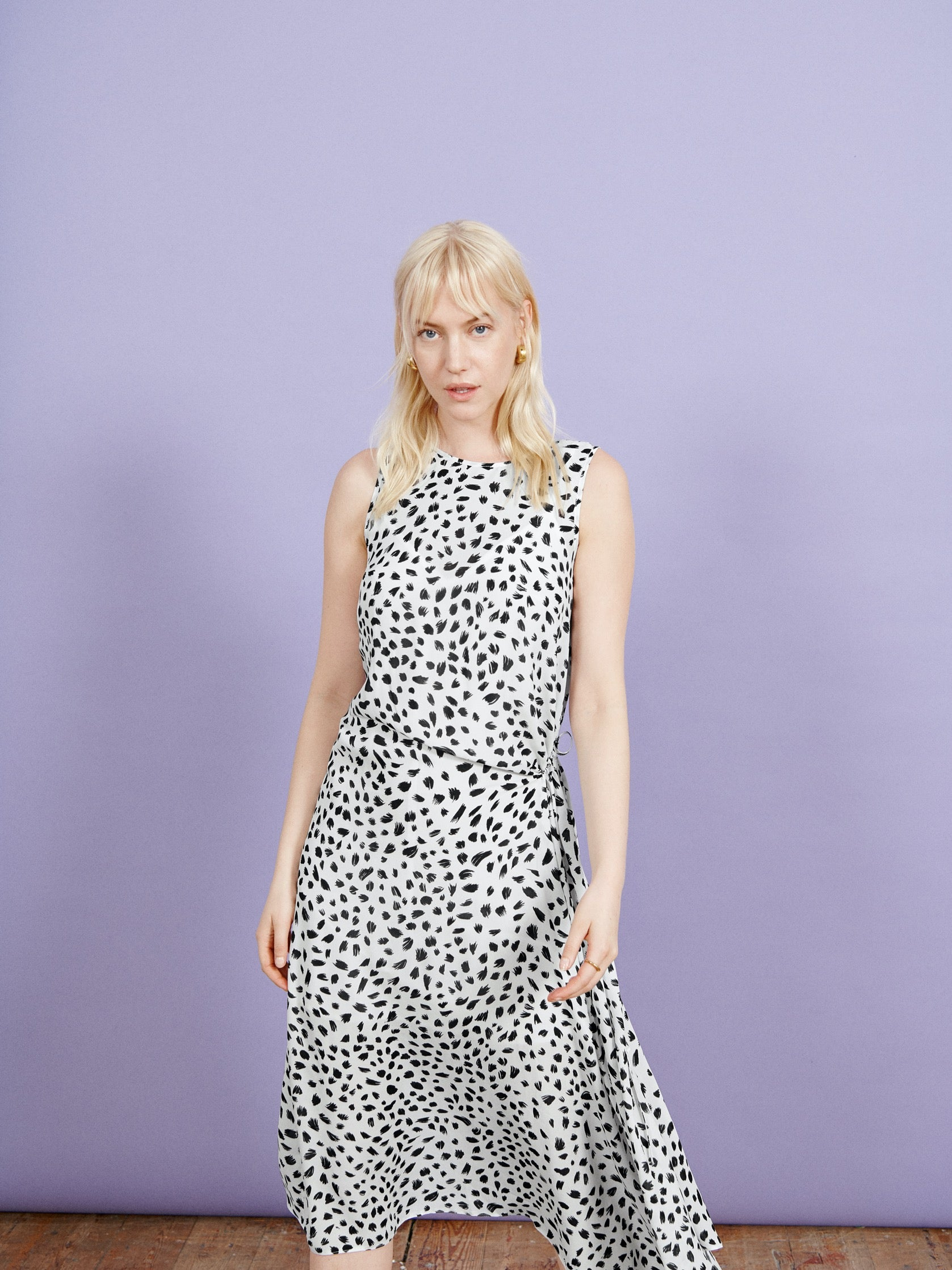 White Animal Print Sleeveless Slip Dress