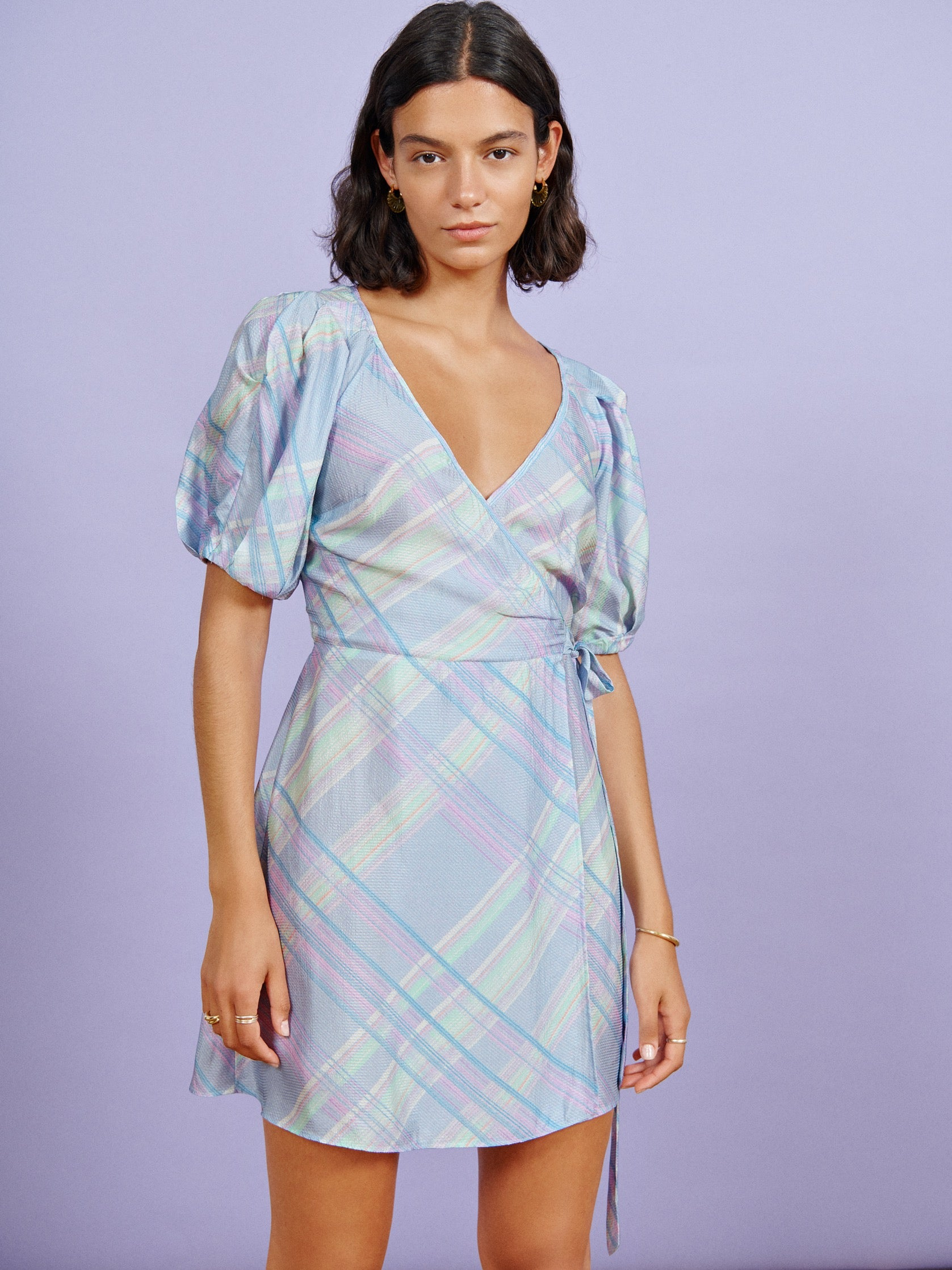 FSC Viscose Blue Check Puff Sleeve Wrap Mini Dress