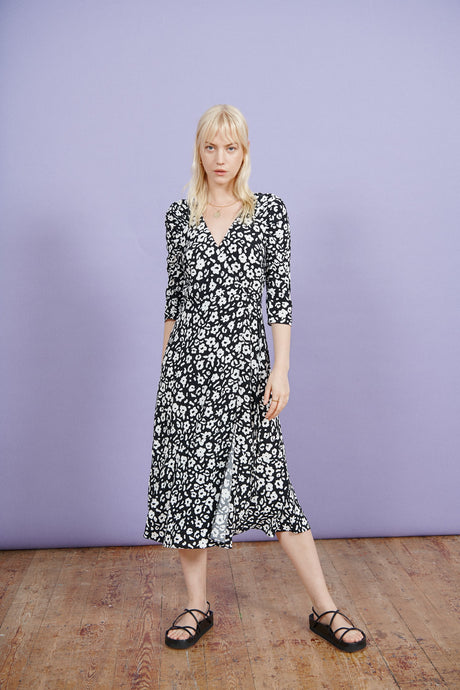 FSC Viscose Monochrome Floral Wrap Midi Dress