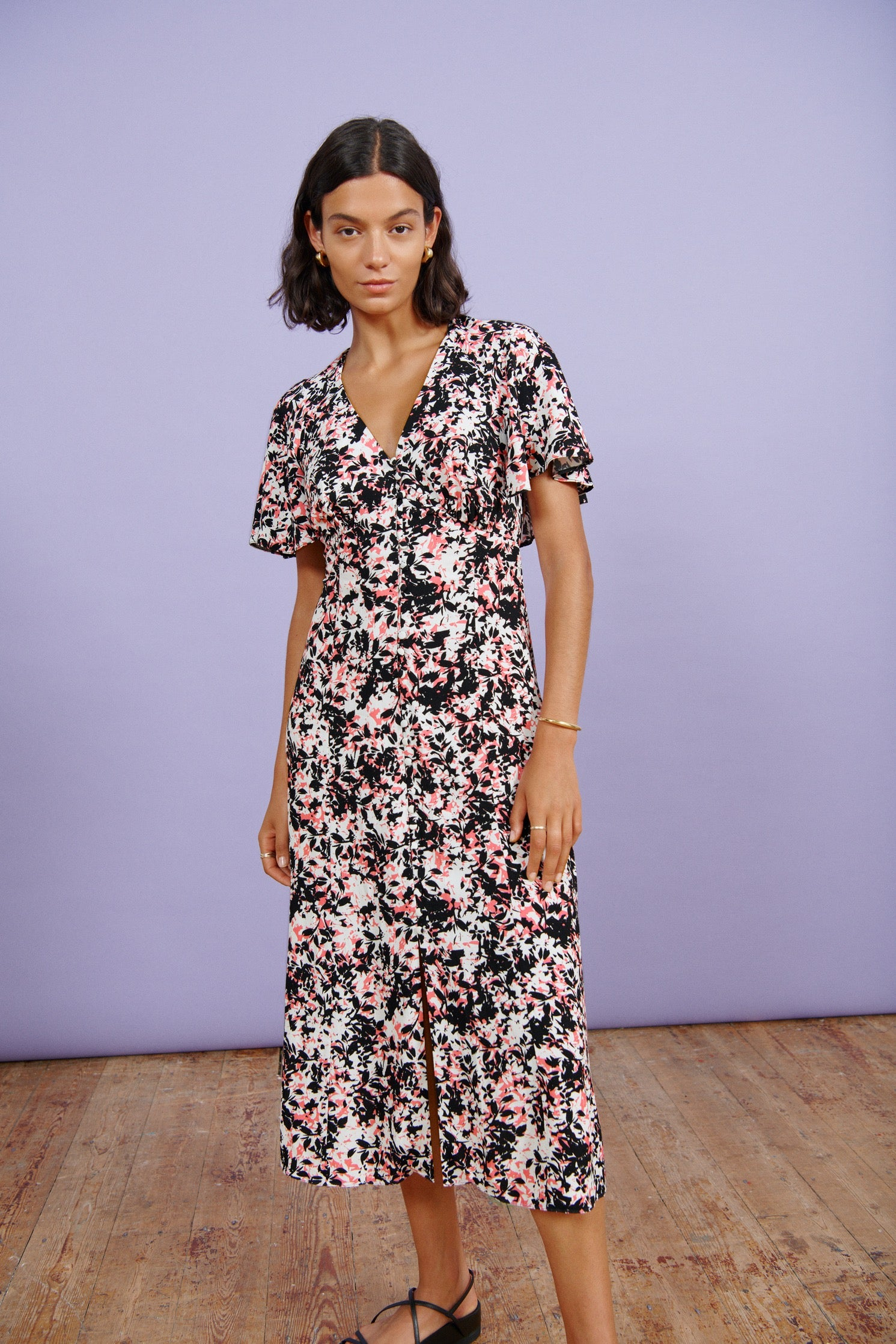Abstract Floral Cape Back Midi Dress