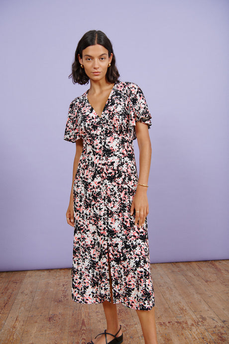 FSC Viscose Abstract Floral Cape Back Midi Dress