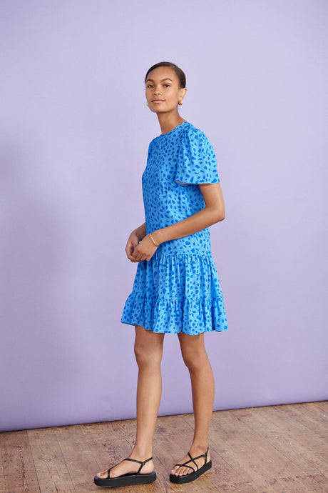 Blue Animal Print Tiered Hem Mini Dress
