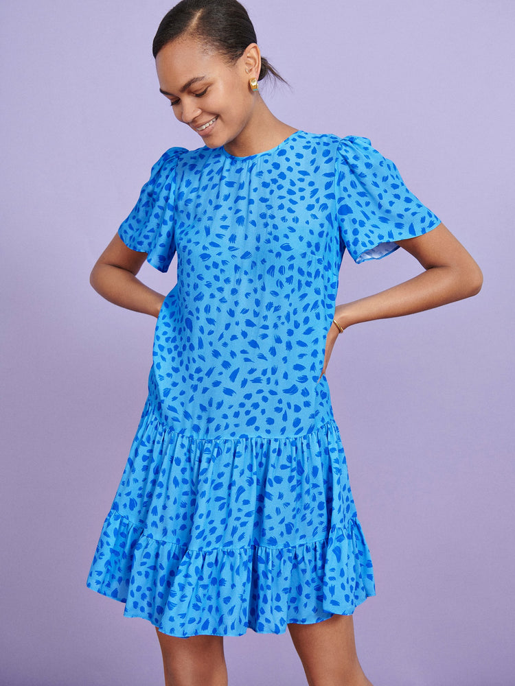 FSC Viscose Blue Animal Print Tiered Hem Mini Dress