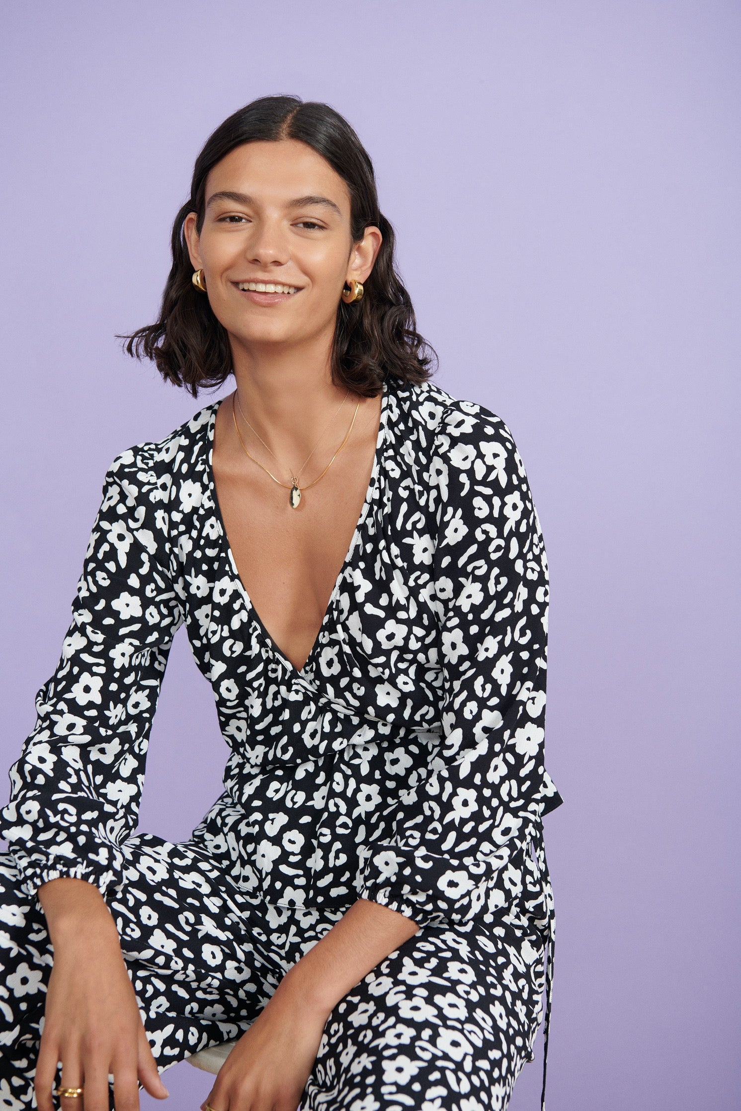 FSC Viscose Monochrome Floral Print Wrap Top