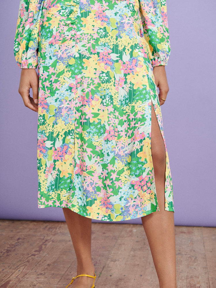 FSC Viscose Meadow Floral Ruched Front Midi Skirt