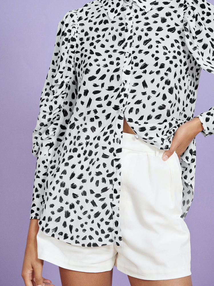 FSC Viscose White Animal Print Ruched Blouson Sleeve Shirt