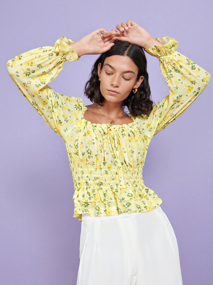 FSC Viscose Yellow Floral Shirred Waist Top
