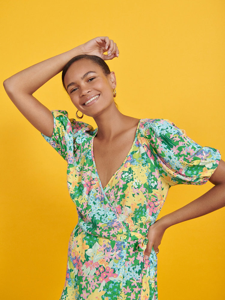 FSC Viscose Meadow Floral Wrap Mini Dress